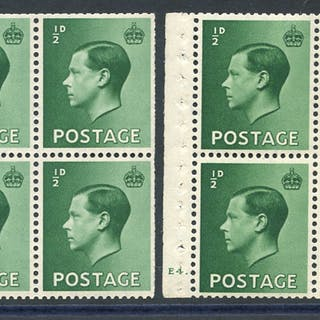 1936 ½d green - two booklet panes of six, Cyl. E4 dot (hinge marks