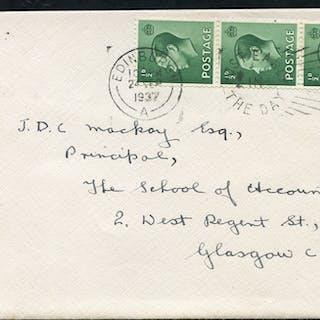 1937 envelope from Edinburgh to Glasgow, franked ½d green vertical