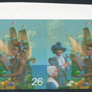 1999 Millennium Settlers 26p top marginal Imperf Proof pair with some