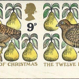 1977 Christmas 9p variety Imperf in an UM lower marginal horizontal pair