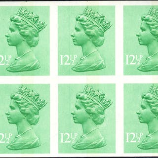 1982 12½p light emerald (1 centre band) UM Imperf block of eight with
