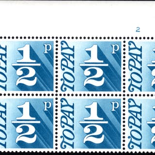 1970-76 ½p Cylinder 2 block of six