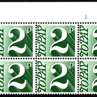 1970-76 2p Cylinder 1 block of six