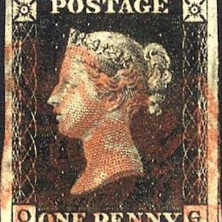 1840 1d black - Plate 4 OG