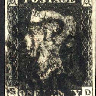 1840 1d black - Plate 4 SD