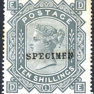 1867-83 Wmk Maltese Cross 10s greenish grey DE