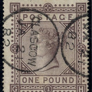 1867-83 Wmk Maltese Cross £1 brown-lilac