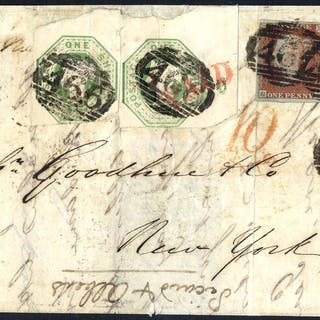 1850 fine entire from Liverpool to New York carried by Cunard steamer 'Niagara'