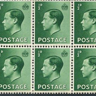 1936 ½d green UM booklet pane of six