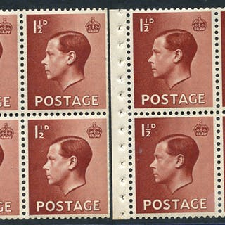 1936 1½d red-brown UM booklet panes of six (2)