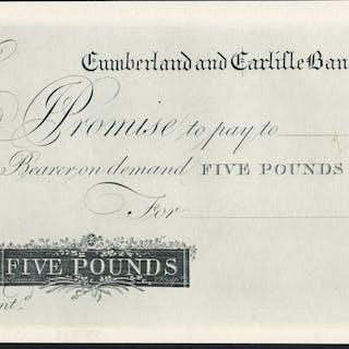 Cumberland & Carlisle Bank £5, dated 180X