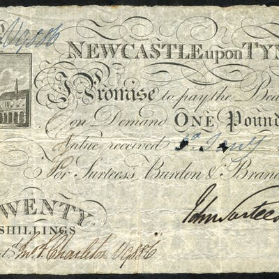 Newcastle Upon Tyne £1 or 20 shillings, dated 1803