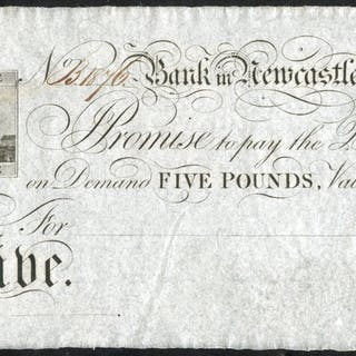 Newcastle, Bank in Newcastle £5, part issued dated 1840