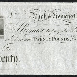 Newcastle, Bank in Newcastle £20, unissued 18XX