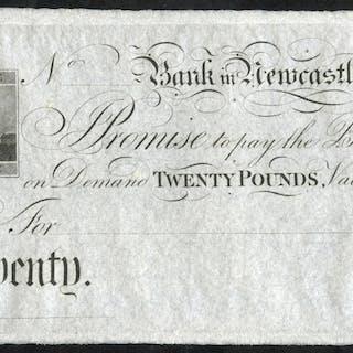 Newcastle, Bank in Newcastle £20, unissued 18XX