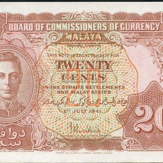 Malaya 20 cents KGVI, dated 1941