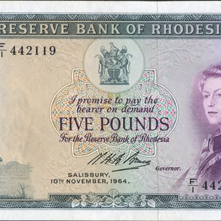 Rhodesia Reserve Bank £5 dated 1964