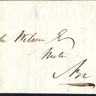 1841 cover from Maybole to Ayr, franked Plate 1 LJ