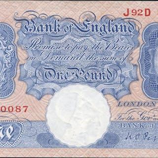 1940 Peppiatt £1 blue/pink (J92D 330087), EF.