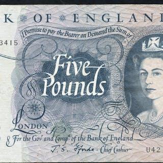 1967 Fforde £5 blue (U42 193415), VF.