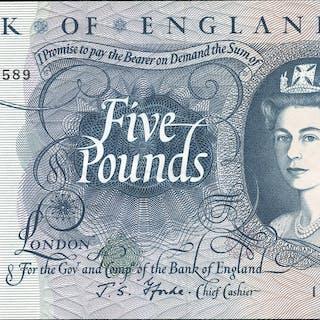 1967 Fforde £5 blue (11B 048589), EF+