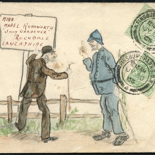 1906 envelope from Finsbury Park to Rochdale with hand painted illustration