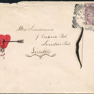 1892 envelope from the Simmons Correspondence, used locally in Leicester