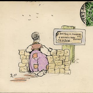 1913 ½d green on a privately made postcard, delightful water colour