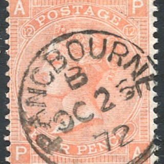 1865-67 Wmk Large Garter 4d dull vermilion Pl.12, superb used