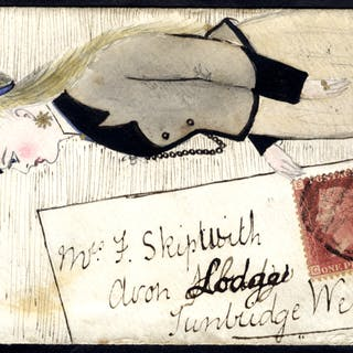 1869 envelope from Shoreham to Tunbridge Wells, pen & ink/water colour
