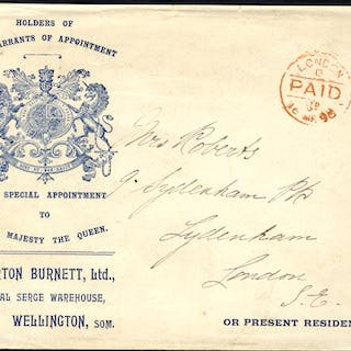 1898 envelope used locally in London, printed left side with Royal