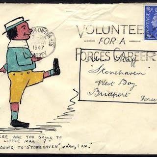1947 envelope addressed to Mrs Staff at Bridport, hand illustration