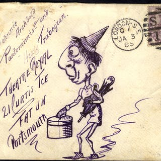 1895 envelope from London to Portsmouth, pen & ink hand illustration