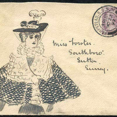 1897 envelope from Hampstead to Sutton with hand illustration