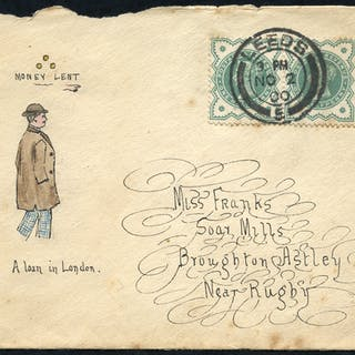 1900 envelope from Leeds to Broughton Astley with hand illustration