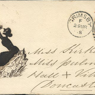1864(c) envelope front from Grimsby to Doncaster with pen & ink illustration