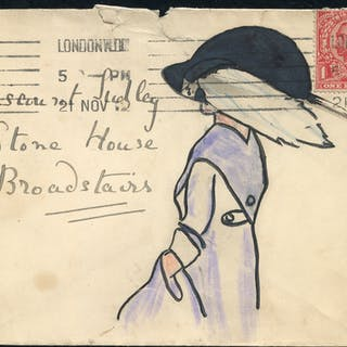 1912 envelope to Viscount Sudley at Broadstairs with hand illustration