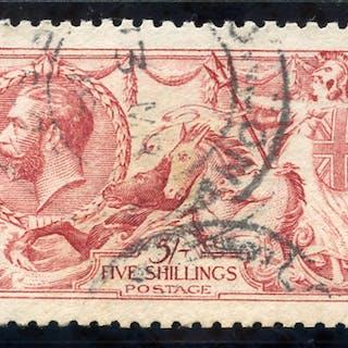 1915 De La Rue 5s pale carmine (worn plate), SG.410, Cat £500