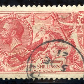 1918 Bradbury 5s rose red, SG.416, Cat. £135