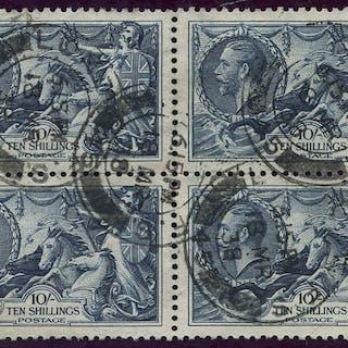 1934 Re-engraved 10s indigo, block of four, SG.452, Cat. £320++