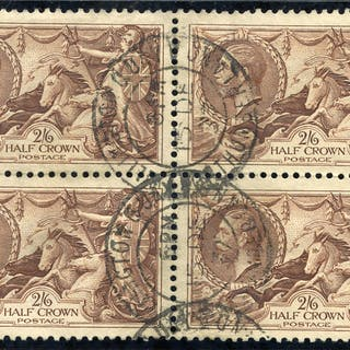 1934 Re-engraved 2/6d chocolate brown, block of four, SG.450 Cat. £160++