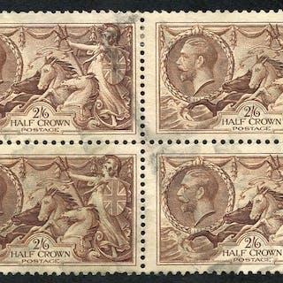 1934 Re-engraved 2/6d reddish brown, block of four, SG.450, Cat. £160++
