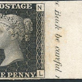 1847 Paris Exhibition 1d black Pl.103 NL, fine & scarce, SG.DP38, Cat. £3000+