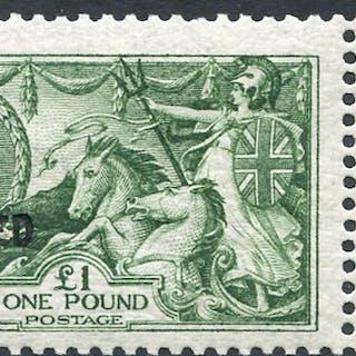 1913 £1 yellowish green on Joyson paper, fine & scarce. Spec Cat £3250
