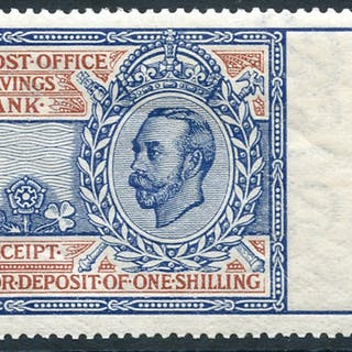 1911-20 Post Office Savings Bank 1s light blue & red (Downey Portrait)