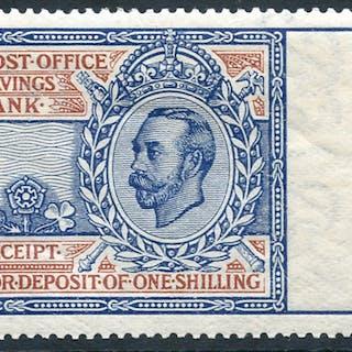 1911-20 Post Office Savings Bank 1s light blue & red (Downey Portrait)