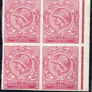 c.1910 De La Rue 'Minerva Head' colour trials for promotional sample stamps