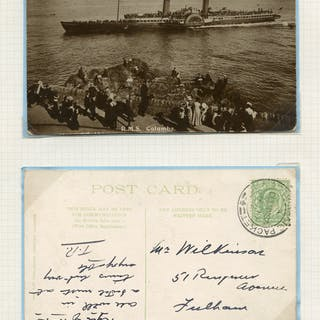 1906 picture postcard of S.S. Columbia franked ½d