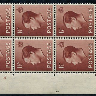 1936 1½d red brown, fine M control block of six (A36)