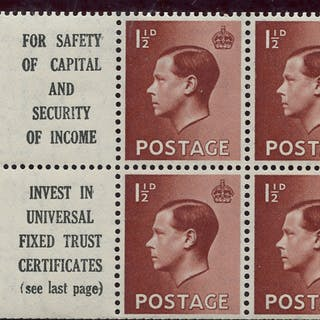 1936 1½d Advertisement booklet pane, Spec PB5 (10), SG.459a, Cat. £110